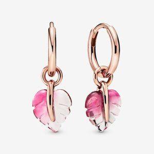 🥂Pandora Pink Murano Glass Leaf Hoop Earrings